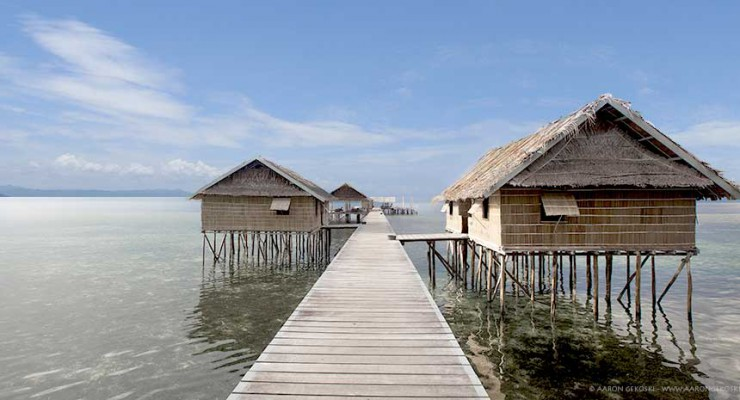 Papuan Cottages along the walkway